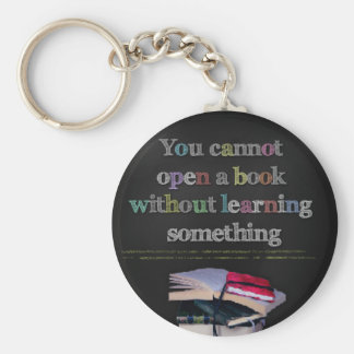 Confucius Cannot Open a Book Quote Keychain