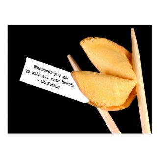 Confucius fortune cookie post card