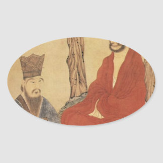 Confucius, Lao-tzu and Buddhist Arhat Oval Sticker