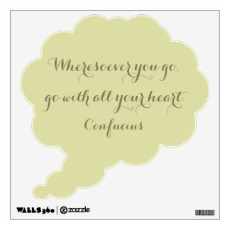 Confucius Quote Beige And Gold Thought Bubble Wall Sticker
