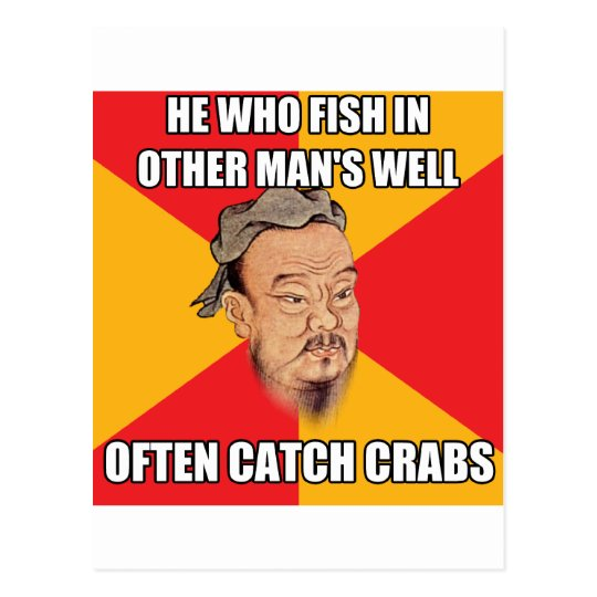Confucius Say Catch Crabs Postcard
