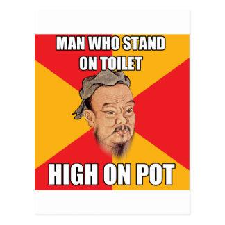 Confucius Say High On Pot Postcard