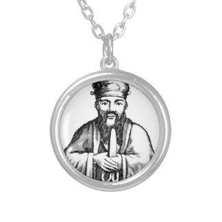 Confucius Silver Plated Necklace