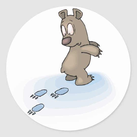 Confused Bear Classic Round Sticker