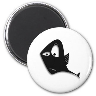 Confused Black Fish Cartoon Refrigerator Magnets