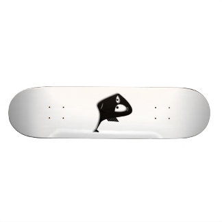 Confused Black Fish Cartoon Skateboard Deck