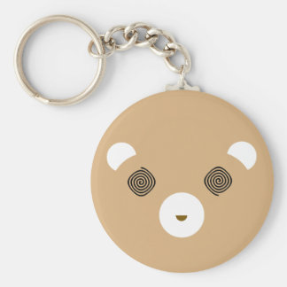 Confused Brown Bear Basic Round Button Keychain