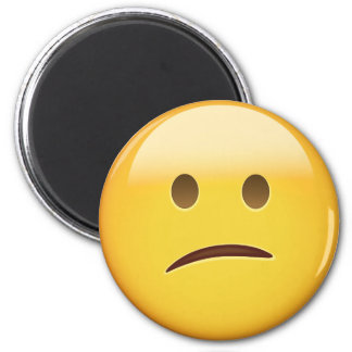 Confused Face Emoji 2 Inch Round Magnet