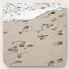 Confused Footsteps in the sand Beverage Coaster
