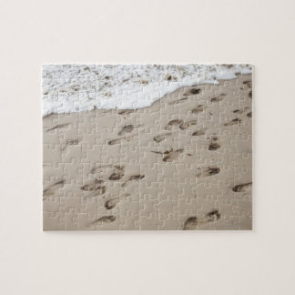 Confused Footsteps in the sand Jigsaw Puzzle