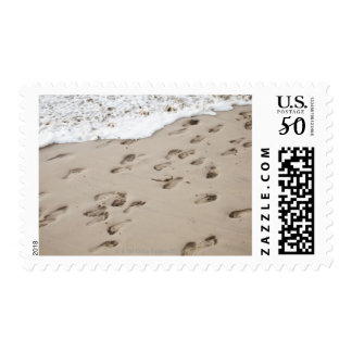 Confused Footsteps in the sand Postage
