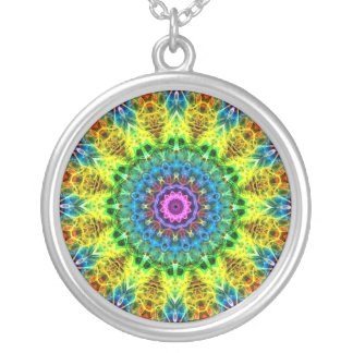 confused harmony kaleidoscope silver plated necklace