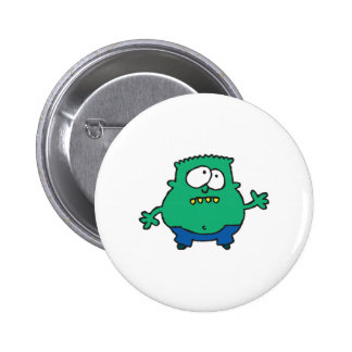 confused little green monster 2 inch round button
