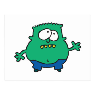 confused little green monster postcard