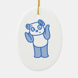 Confused Panda Ceramic Ornament