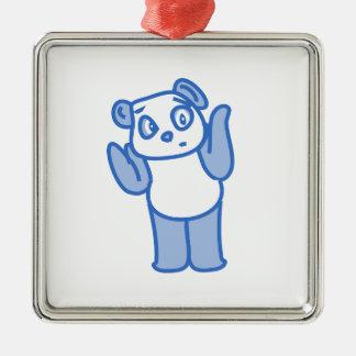 Confused Panda Metal Ornament