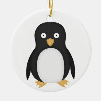 Confused penguin ceramic ornament