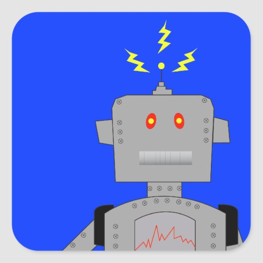 confused robot square sticker