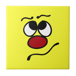 Confused Smiley Face Grumpey Ceramic Tile