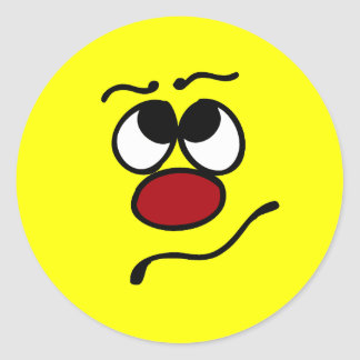 Confused Smiley Face Grumpey Classic Round Sticker