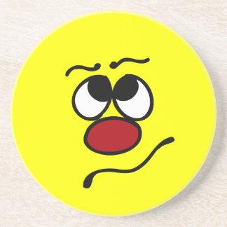 Confused Smiley Face Grumpey Drink Coaster