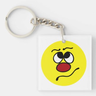 Confused Smiley Face Grumpey Keychain
