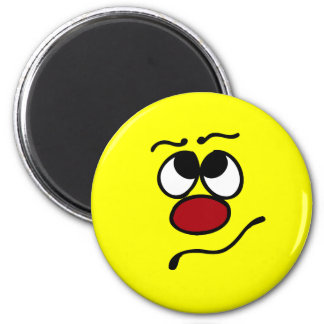 Confused Smiley Face Grumpey Magnet