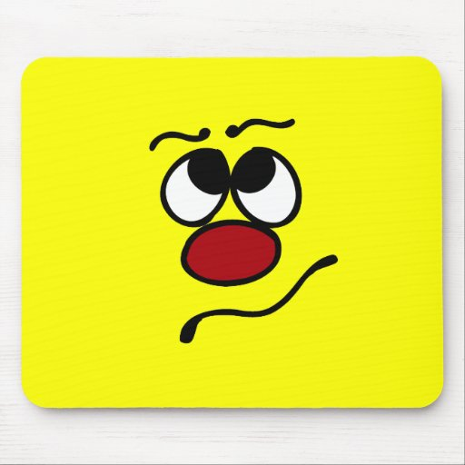 Confused Smiley Face Grumpey Mouse Pad