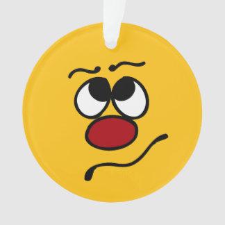 Confused Smiley Face Grumpey Ornament