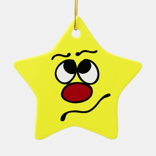 Confused Smiley Face Grumpey Double-Sided Star Ceramic Christmas Ornament