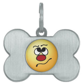 Confused Smiley Face Grumpey Pet Name Tag