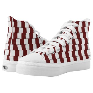 Confusing lines Bordeaux High-Top Sneakers