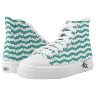 Confusing lines turquoise High-Top sneakers