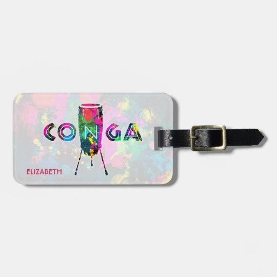 Conga Cuban Drum Colorful Tumbadora Latin Music Bag Tag