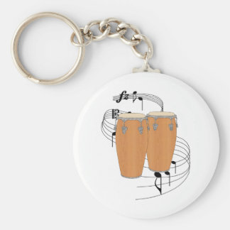 Conga Drums Basic Round Button Keychain