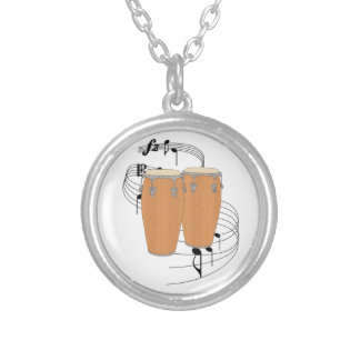 Conga Drums Silver Plated Necklace