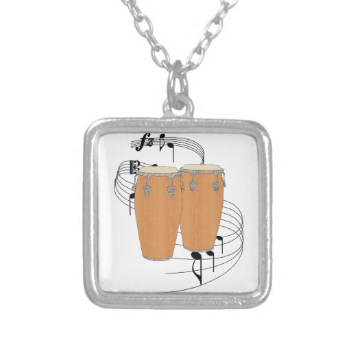 Conga Drums Square Pendant Necklace
