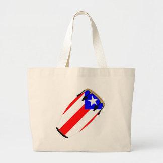 Conga Flag Puerto Rico Large Tote Bag