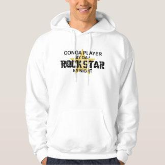 Conga Player Rock Star by Night Hooded Sweatshirt