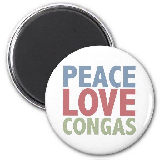 Congas del amor de la paz imán redondo 5 cm