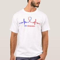 Congenital Heart Disease CHD Awareness Heartbeat T-Shirt