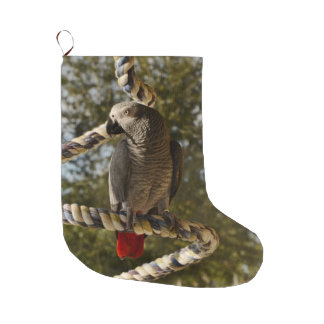 Congo African Grey on a Swing Large Christmas Stocking