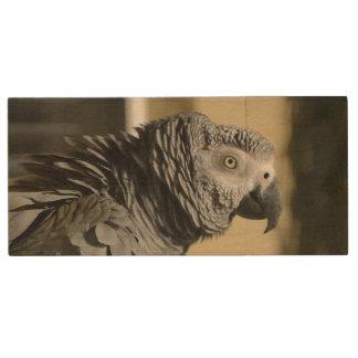 Congo African Grey Parrot Wood USB 3.0 Flash Drive