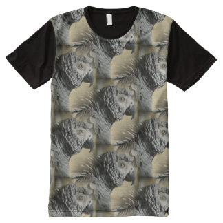 Congo African Grey Parrot with Ruffled Feathers All-Over-Print Shirt