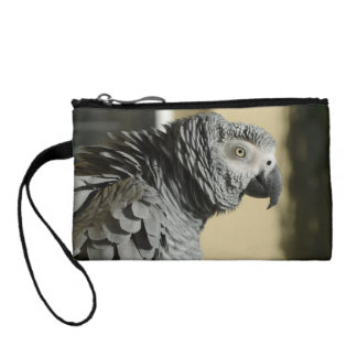 Congo African Grey Parrot with Ruffled Feathers Change Purse