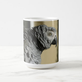 Congo African Grey Parrot with Ruffled Feathers Coffee Mug