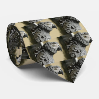 Congo African Grey Parrot with Ruffled Feathers Neck Tie