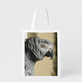 Congo African Grey Parrot with Ruffled Feathers Reusable Grocery Bag