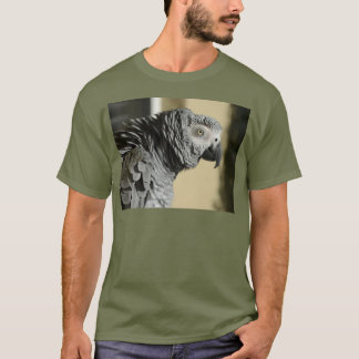 Congo African Grey Parrot with Ruffled Feathers T-Shirt