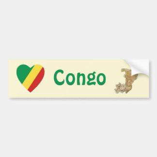 Congo-Brazzaville Flag Heart + Map Bumper Sticker